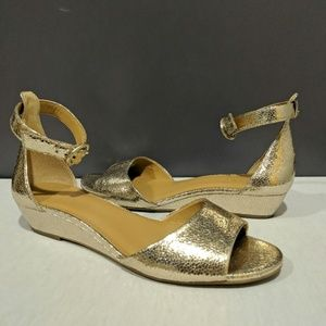 JCrew Gold Crinkle Metallic demi wedge